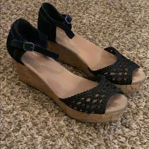 Black TOMS ankle strap wedge Sandals Size 7